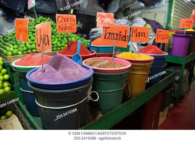 Fruit powders and limes for sale at La Merced market, Mexico City, Mexico, Central America