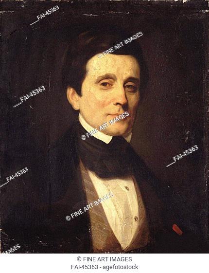 Portrait of Emile Deschamps (1791-1871) by Callande de Champmartin, Charles-Émile (1797-1883)/Colour Lithography/Romanticism/France/Private...