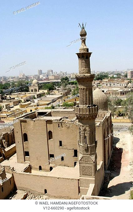 Mosque of Sultan al-Ashraf Inal  (Inal was once a mamluk of Sultan Barquq ) Mamluk period, Great Cemetery, Northern Cemetery, Qarafa al Kubra, Cairo, Egypt