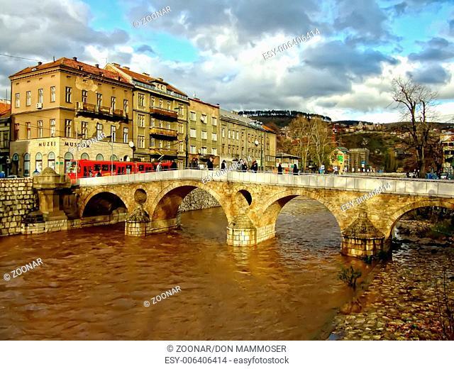 Latin Bridge on Miljacko river, Sarajevo, Bosnia a