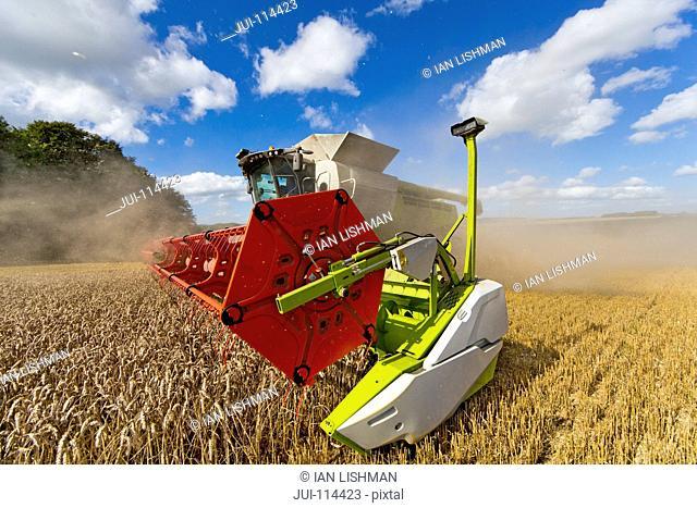 Combine Harvester Harvesting Field Of Wheat