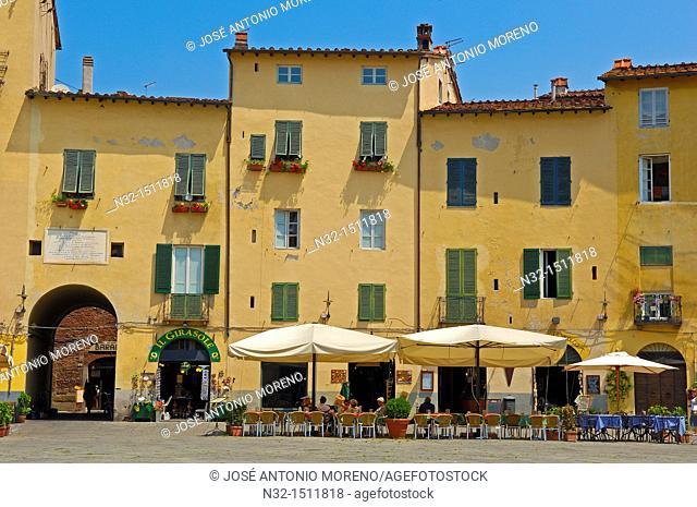Lucca, Anfiteatro square, Piazza Anfiteatro, Tuscany, Italy