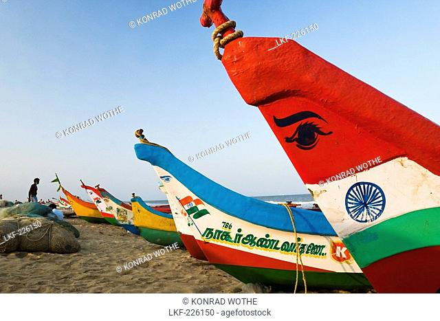 fishingboats at Marina Beach, Chennai, India