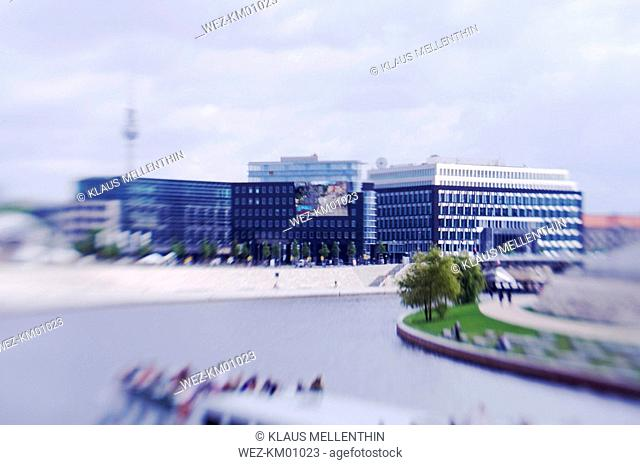 Germany, Berlin, Spree river and federal press conference