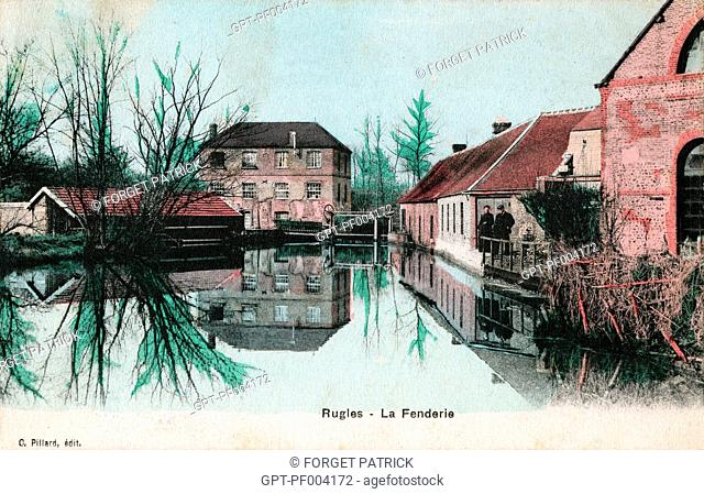 FENDERIE QUARTER WHERE BLACKSMITHS WORKED, COLORED OLD POSTCARD, COLLECTION OF THE CITY OF RUGLES, EURE (27), FRANCE