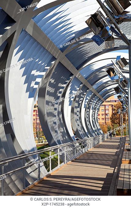 Puente Monumental de Arganzuela in Madrid Rio, Manzanares river, Madrid, Spain  Madrid Rio is the last great ecological development in the city