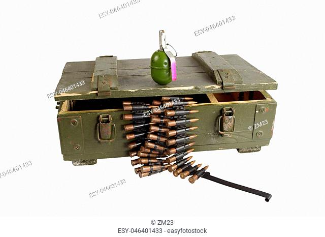army box with ammunition isolated
