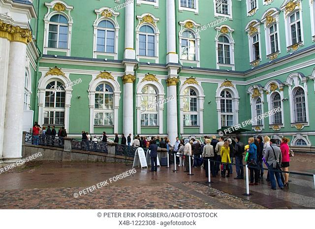Queue to Hermitage museum outside Zimny Dvorets the Winter Palace grounds central St Petersburg Russia Europe