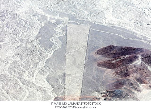 Mysterious figures Nazca desert from the aircraft
