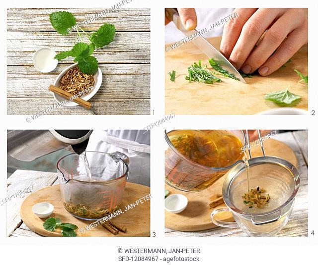 How to prepare orange flower tea with cinnamon and mint