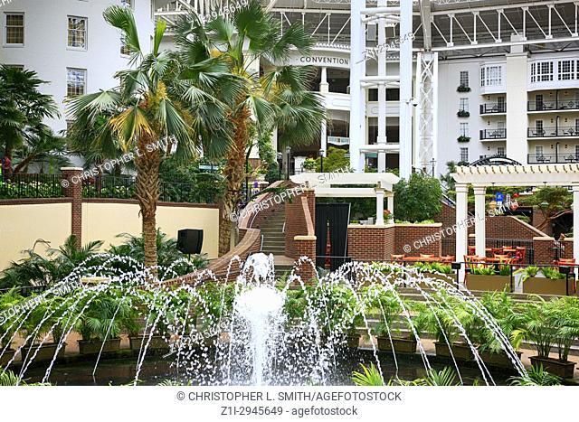 Fountains in the botanical garden style Gaylord Opryland hotel resort in Nashville TN, USA
