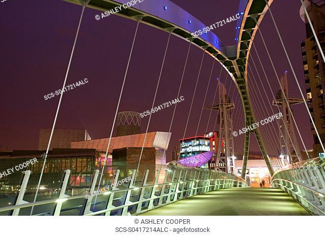 The Lowry Centre and Millenium Bridge in Salford Quays Manchester UK
