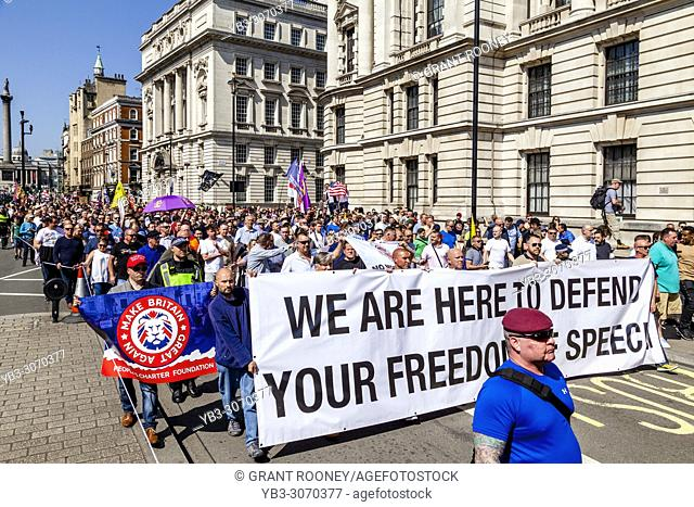People from across the Uk gather in Whitehall to take part in a freedom of speech rally organised by the right wing activist Tommy Robinson, London, UK