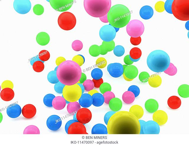 Abstract close up of multicolored balls on white background