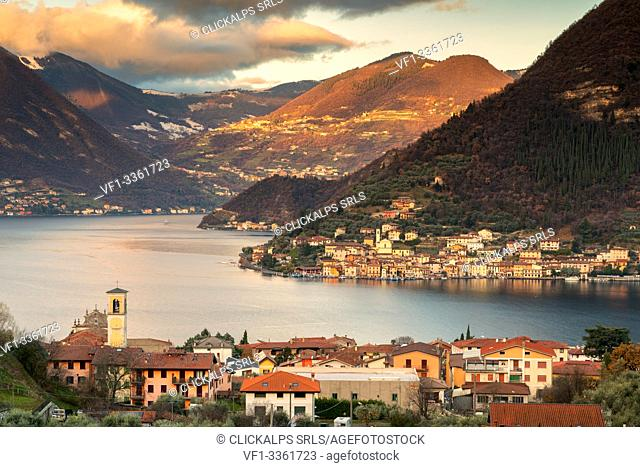 Sulzano and Peschiera Maraglio on the lake of iseo lake in Brescia province, Lombardy district, Italy, Europe