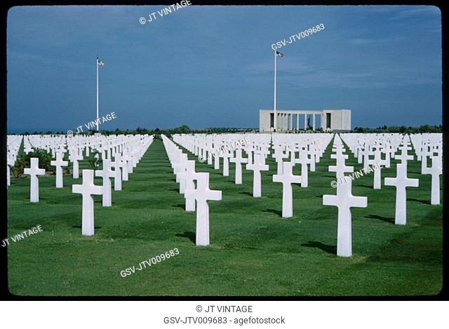 American Cemetery and Memorial, Omaha Beach, Colleville-sur-Mer, Normandy, France, 1961