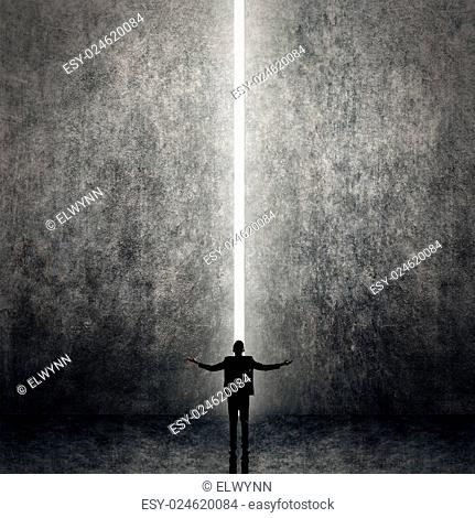 Asian business man facing the light, concept of freedom, relax, future, successful etc