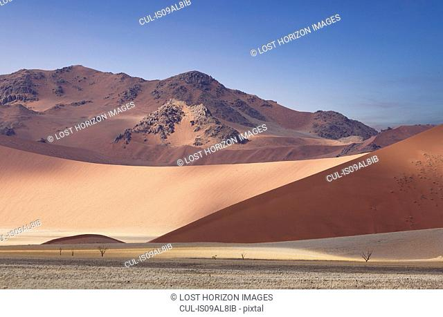 View of giant sand dunes, Sossusvlei National Park, Namibia