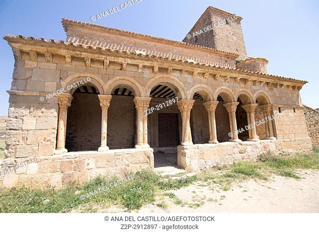 St Peters church in Caracena village in Soria province Castile Leon Spain on June 12, 2017