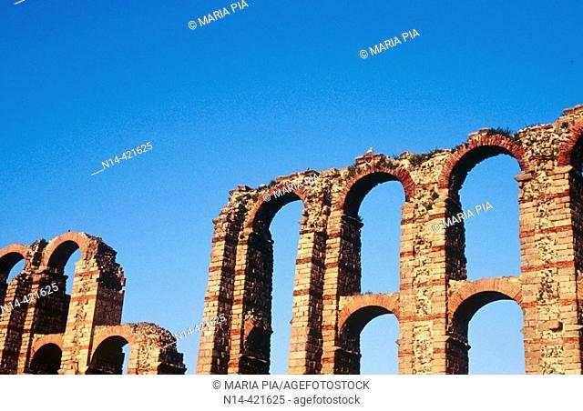 Detail of Los Milagros aqueduct, Mérida. Cáceres province, Spain