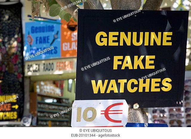 Ephesus. Sign advertising Genuine Fake Watches and ten Euro price ticket