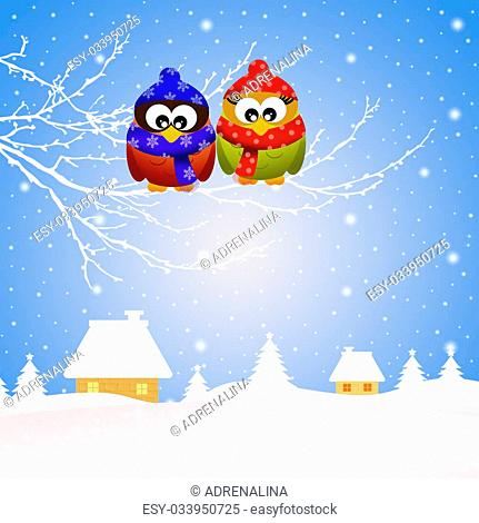 illustration of owls in winter