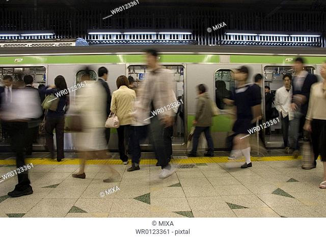 People walking in a station