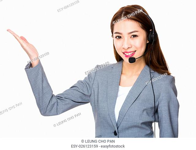 Customer services operator and open hand palm