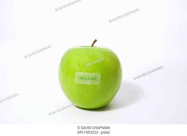 Granny Smith Apple With An Organic Label, Waterloo Quebec Canada