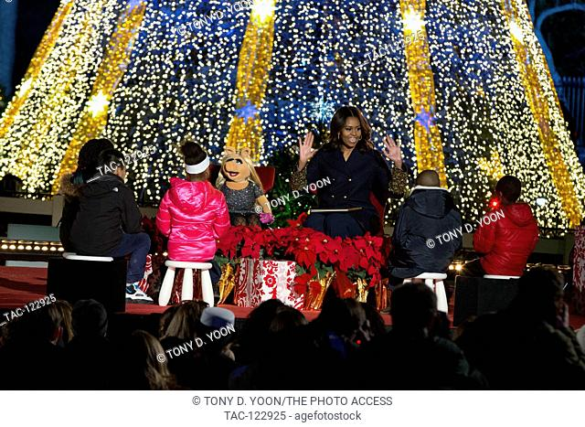 The First Lady Michelle Obama reads Christmas Stories at the 2015; National Christmas Tree Lighting on December 3rd; 2015 in Washington D.C