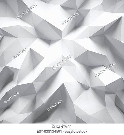 Photo of highly detailed multicolor polygon. White geometric rumpled triangular low poly style. Abstract gradient graphic background. Square