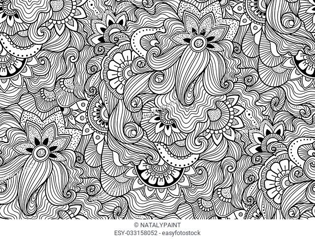 Decorative nature ornamental seamless pattern. Zen-tagle style and mehndi style