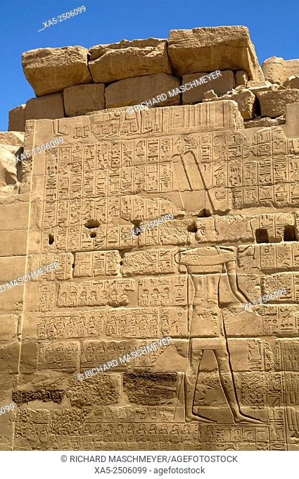 Bas-relief of God Amun with Hieroglyiphics, Karnak Temple, Luxor, Egypt