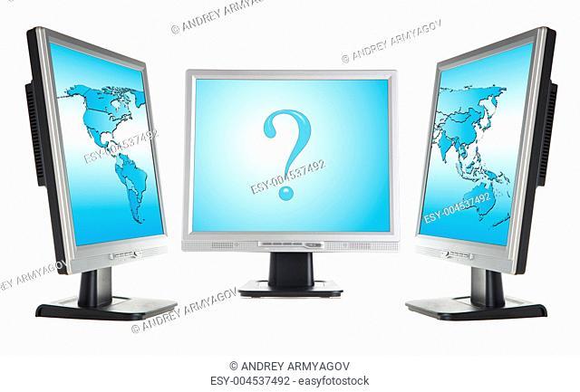 monitors and world map