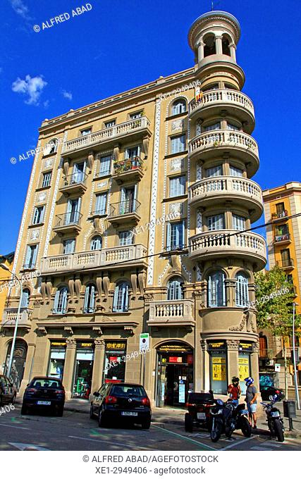 Modernist building residential, district of Poble Nou, Barcelona, Catalonia, Spain