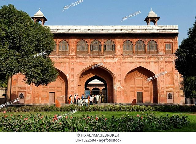Building at the Red Fort with visitors, New Delhi, India, Asia