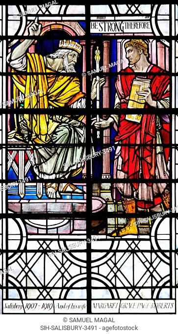 England, Salisbury, Salisbury Cathedral, Stained Glass Window, The Coronation of David