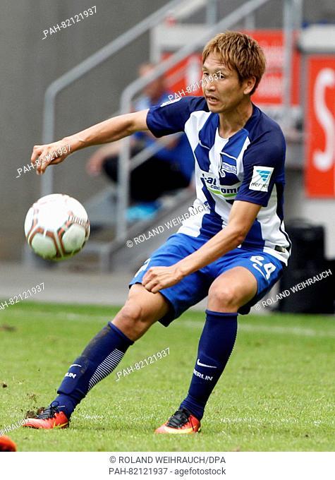 Genki Haraguchi from Hertha BSC in action during a test match at the International Tournament with MSV Duisburg, Eintracht Frankfurt, Hertha BSC