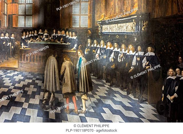Alderman's chamber, painting by Gilles van Tilborgh in the Brugse Vrije, former court of law / courthouse in the city Bruges, Flanders, Belgium