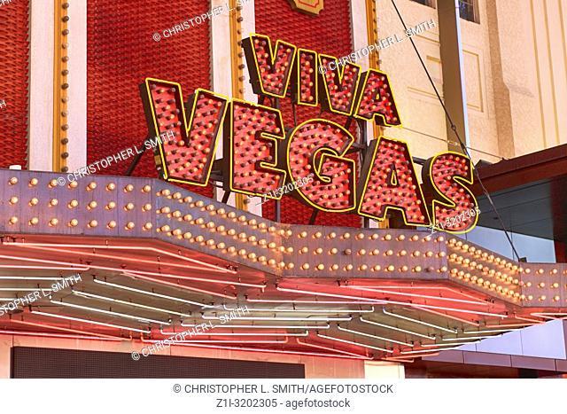 Viva Vegas signage on Freemont Street in old downtown Las vegas, Nevada
