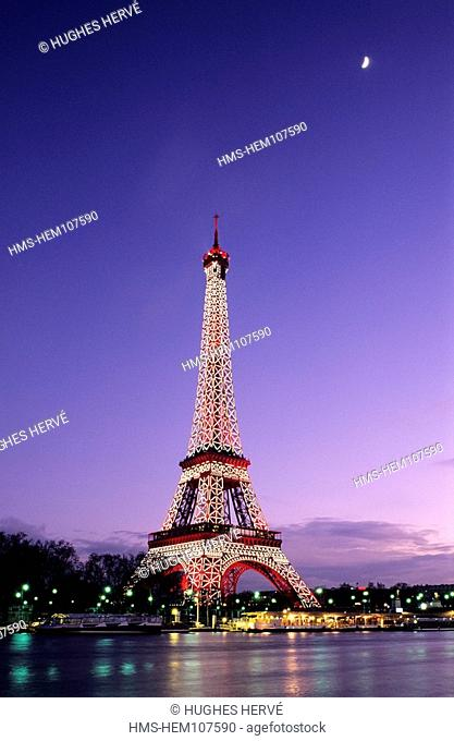 France, Paris, banks of the Seine river listed as World Heritage by UNESCO, Eiffel Tower night lighting by Pierre Bideau, reproduction rights