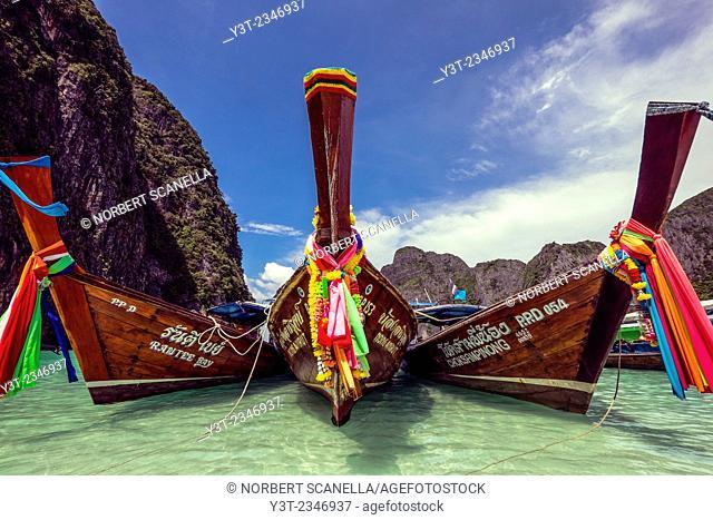 Asia. Thailand. Koh Phi Phi island. Long tail boat