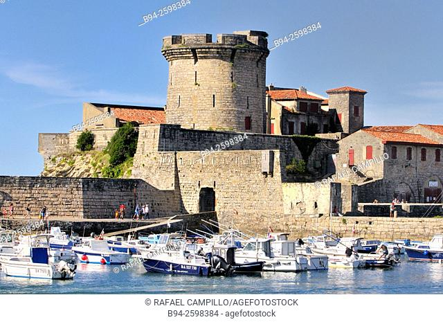 Fort of Sokoa, built in the 17th. Century by Louis XIII of France, and Ciboure port, Pyrénées-Atlantiques department, Aquitaine region