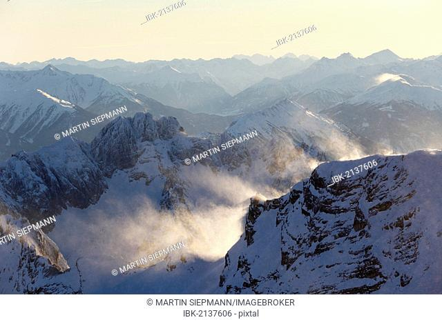 View from Zugspitze Mountain over Gruenstein und Tschirgant Mountains, Wetterstein Mountains, Tyrol, Austria, Europe