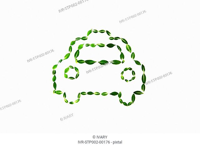 Car Drawn With Leafs And White Background