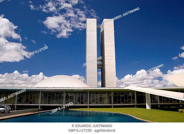 Federal senate and the Enclosed Building of the National Congress, Distrito Federal, Brasília, Brazil