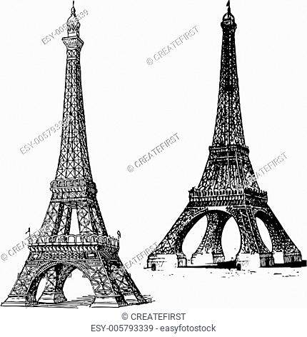 Vector Vintage Eiffel Tower