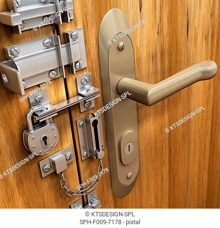 Door with various locks, conceptual artwork