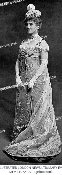 Mrs Adair, formerly American heiress Cornelia Wadsworth, pictured in fancy dress costume in the Empire style for a Fancy Dress ball she gave in 1903