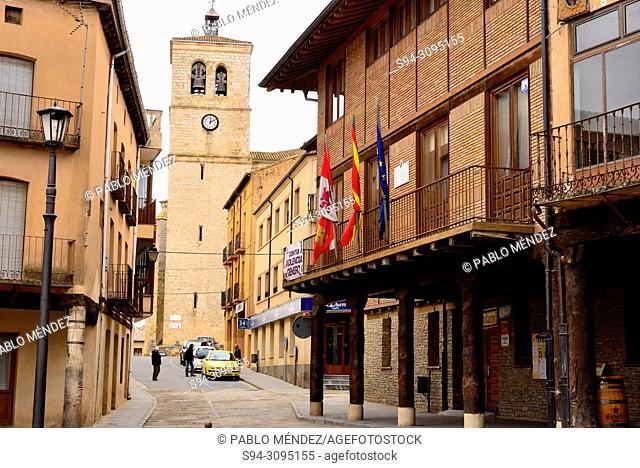 Church of Santa Maria del Mercado and arcade in the main square of Berlanga de Duero, Soria, Spain
